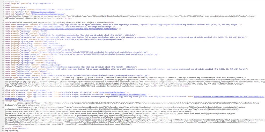 Weboldalak forráskódjának, HTML felépítésének megtekintése (HTML teljes forráskódja)