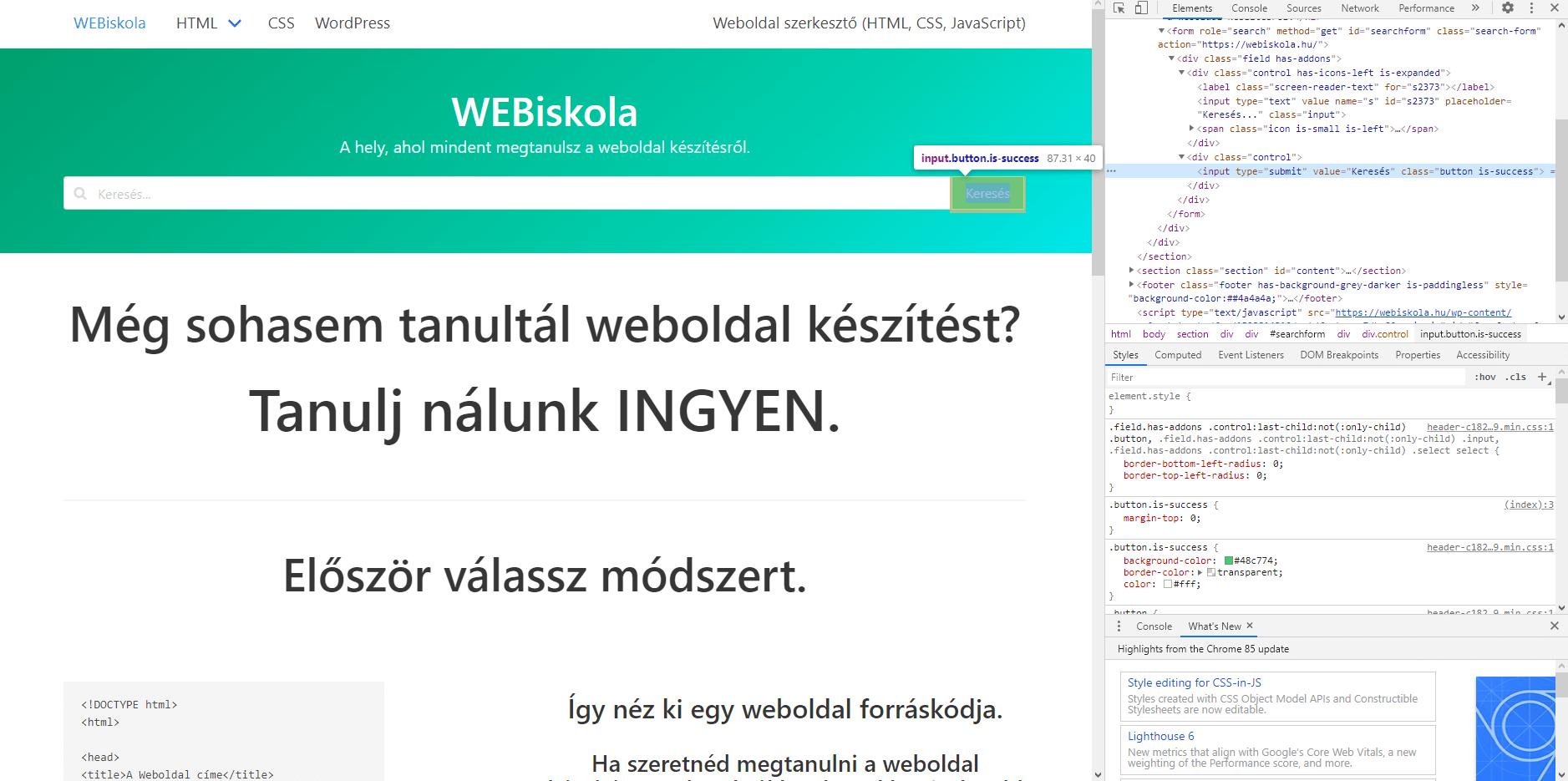 Weboldalak forráskódjának, HTML felépítésének megtekintése