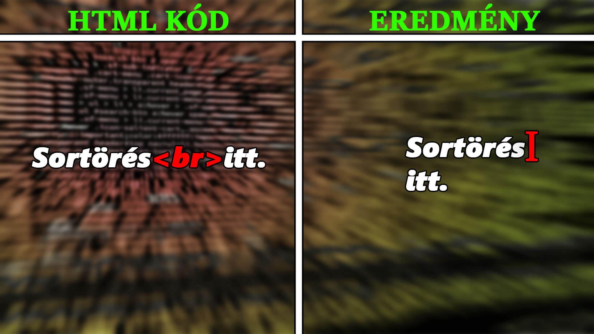 HTML sortörés (br) használata magyarázó kép