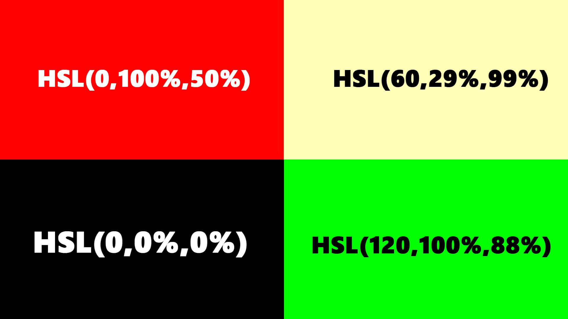 Színmegadása HSL színkód segítségével a HTML nyelvben