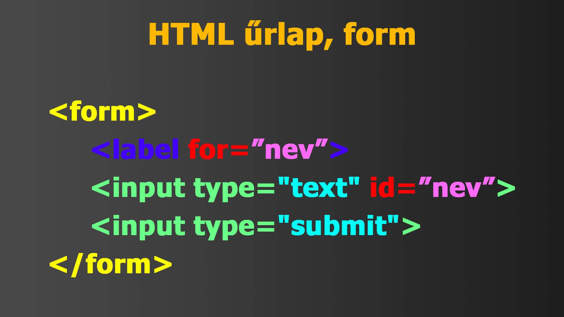 HTML űrlap, form minta, példa