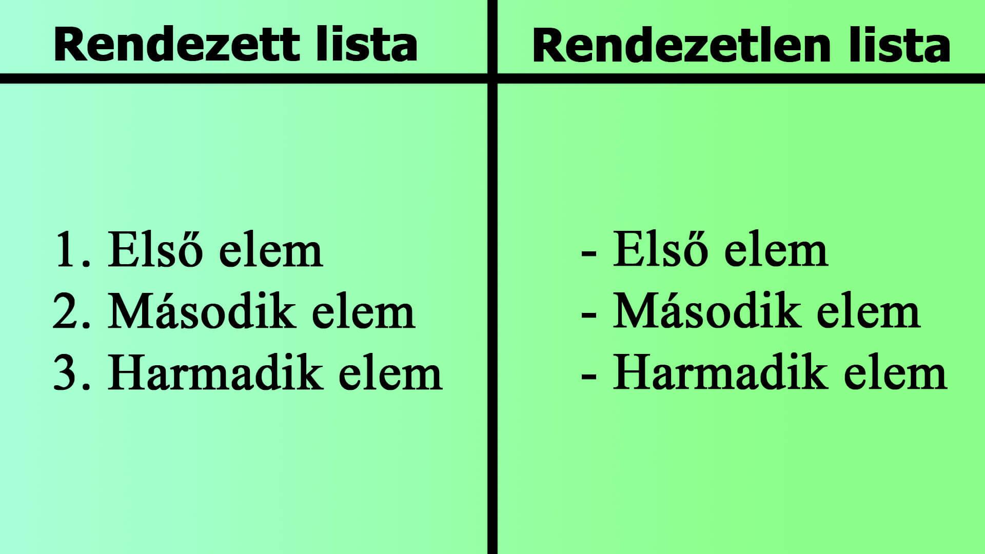 Rendezett és rendezetlen lista szemléltető kép (HTML ol, ul, li)