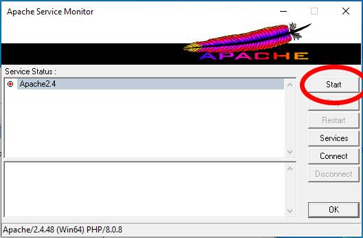 Az Apache szerver elindítását szemléltető első kép. Apache telepítésének, letöltésének, elindításának a lépései - 3. lépés