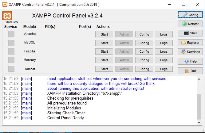A XAMPP használatának a lépései - 1. lépés